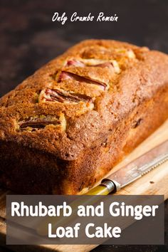 An easy to make loaf cake with warming ginger notes and the delicious tangy pieces of rhubarb. #Onlycrumbsremain #loafcake #everydaycake #easycake #rhubarb Loaf Recipes, Rhubarb Recipes, Easy Baking Recipes, Easy Cake Recipes, Cupcake Recipes, Sweet Recipes, Cupcake Cakes, Dessert Recipes, Fruit Recipes