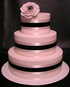 Lovely pink and black cake. Simple, clean lines and very elegant.
