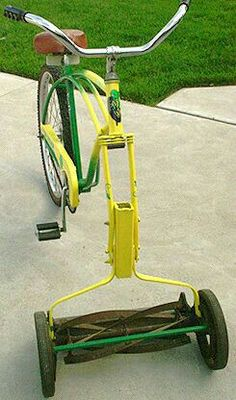 pedal-powered lawn mower made from old bicycle