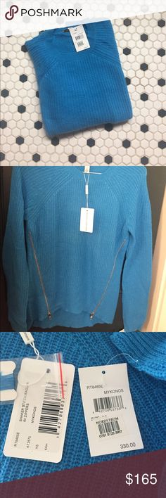 Autumn Cashmere Shaker Stitch Sweater w Zippers Mykonos Blue Autumn Cashmere Shaker Stitch Raglan Sweater. New with tags. Never worn. Autumn Cashmere Sweaters Crew & Scoop Necks