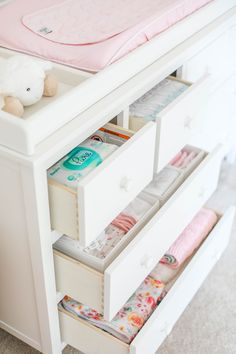 Our beautiful floral nursery that is bright and airy with pops of pink! Baby Emma is here so I'm excited to finally share her nursery reveal! Girl Nursery, Girl Room, Baby Room, Nursery Room, Nursery Decor, Bedroom, Nursery Dresser Organization, Shed Interior, Baby Dresser