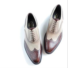 brown and beige oxford brogue shoes #bestshoes #menshoes #menstyle