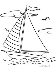 Beach Coloring Pages, Kids Printable Coloring Pages, Colouring Pages, Coloring Pages For Kids, Boat Drawing, Ship Drawing, Drawing For Kids, Merry Christmas Coloring Pages, Alice In Wonderland Drawings
