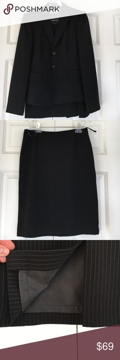 📌NWOT Tahari Arthur S Levine Petite Skirted Suit 📌NWOT Tahari: Arthur S Levine Petite Skirted Suit 📌Beautiful ladies suit - perfect condition never worn - pockets of jacket never even opened! Still stitched.  📌Jacket has two-button closure and no back slit 📌Skirt has back zip and hook & eye closure with back slit 📌Color is black with cream colored pin stripe Tahari Other