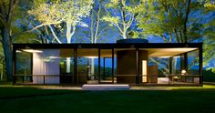 Philip Johnson: The Glass House. High transperancy acheived through more than just a lot of glass: walls and enclosures within the house are brought back off the walls.