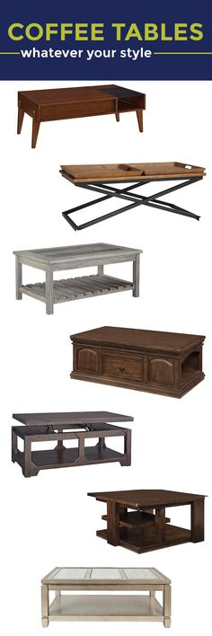 Coffee tables: Whatever your style! Find just the right coffee table for your home, whether you like rustic, traditional, mid-century modern, glam...the list keeps going and going...