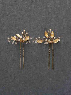 Gold Leaf Headpiece Gold Wedding Hair by DavieandChiyo on Etsy