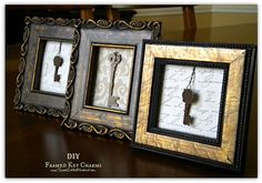 DIY:  Framed Key Charms. Very easy tutorial.  {Frame keys from previous homes/apartments you and your spouse have shared}