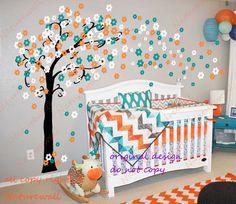 Calcomanías de vivero los de niños bebé calcomanía de pared calcomanía árbol de flor de cerezo de habitaciones decoración naturaleza chica decoración pared arte-Trailing Cherry Blossom
