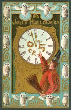 Vintage Embossed Gottschalk Halloween Postcard Man Points Clock White Owl Border