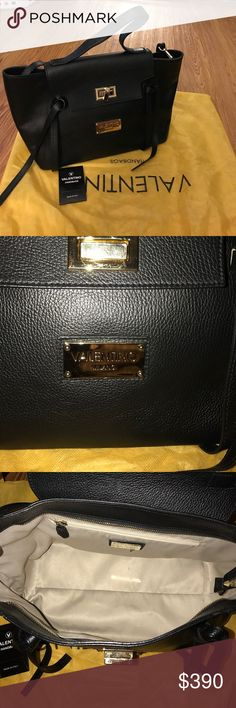 AUTHENTIC CAMILLA VALENTINO SHOULDER BAG 100% authentic Camilla Valentino by Mario Valentino purse. Manufactured in Italy. Black leather bag with gold hardware. Includes adjustable and detachable strap. Dust bag included. Only used few times, no visible signs of wear and tear. Mario Valentino Bags Crossbody Bags