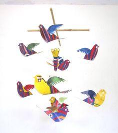 Mobile - Bird Mobile - Handmade - hanging mobile for babies and children - crib mobile - n... $30