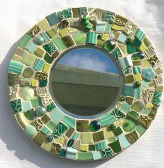 mosaic mirrors | Green Broken China Mosaic Round Mosaic Mirror by PamelasPieces Mirror Mosaic, Mosaic Wall, Mosaic Glass, Mosaic Tiles, Mosaics, Stained Glass Birds, Stained Glass Panels, Fused Glass, Mosaic Crafts