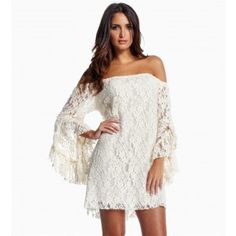 White Long Flare Sleeve Off Shoulder Lace Dress