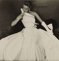Model in Madame Grès September 1954 Vogue Paris Photo by Henry Clarke