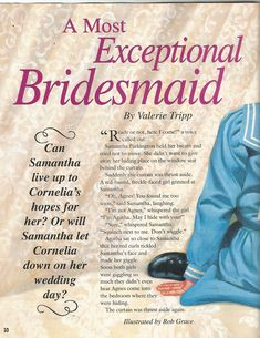"""American Girl Magazine - January 1993/February 1993 Issue - Page 11 (Part 1 of """"A Most Exceptional Bridesmaid"""" - A """"Samantha Parkington"""" Story by Valerie Tripp for American Girl)"""