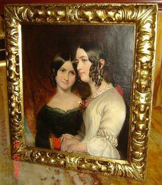 Antique British The Sisters Oil Painting Portrait Augustus Leopold Egg Attrb.