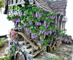 Converted Building by Simone Pohlenz Medieval Town, Medieval Fantasy, Painting Competition, Model Homes, Garden Bridge, Scale Models, Scenery, Miniatures, Outdoor Structures