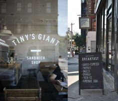 Tiny's Giant Sandwich Shop ~ NYC Les. Great find, tucked away on Rivington not far from the Williamsburg Bridge. The place is small but well worth the visit. Coffee was great and so was my haloumi sandwich and fresh OJ, thanks Tiny.