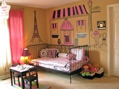 French Themed bedroom decor... wanting to do something like this in the girls' room