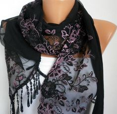 Pink Black Scarf  Headband Necklace Cowl with Lace by fatwoman, $25.00