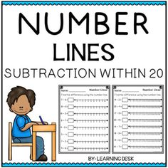 Number Lines Subtraction-Distance Learning Packet First Grade Counting Money Worksheets, 1st Grade Math Worksheets, Fractions Worksheets, Number Line Subtraction, Addition And Subtraction Worksheets, Cut And Paste Worksheets, Number Lines, Differentiation, Task Cards