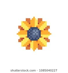 Find Sunflower Yellow Flower Pixel Art Icon stock images in HD and millions of other royalty-free stock photos, illustrations and vectors in the Shutterstock collection. Easy Perler Bead Patterns, Perler Bead Art, Cross Stitch Patterns, Pixel Pattern, Pattern Art, Hamma Beads Ideas, Easy Pixel Art, Animal Crossing, Pixel Drawing