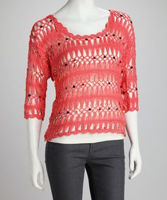 Coral Crochet Top by Dolce Cabo on #zulily