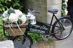 The Vintage Bike dressed with fresh shell pink Hydrangeas and Astilbe