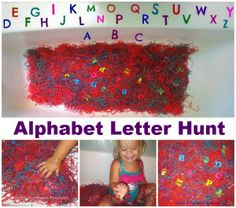 Sensory Alphabet Letter Hunt!  my girls had a blast! All the mess was contained and easy to clean too!