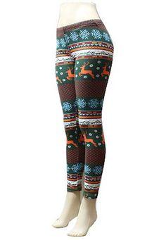 Leggings-reindeer leggings-Christmas by LaceandBow on Etsy