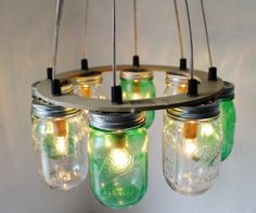 THINK GREEN Mason Jar Chandelier - Upcycled Hanging Mason Jar Lighting Fixture Direct Hardwire