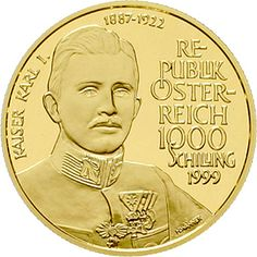 1000 ÖS 1999 Emperor Karl I. 16 g. Fine gold. In capsule. Nice 257. proof coinage