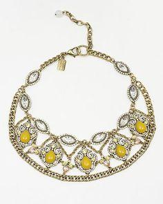 Darjeeling Yellow Crystal and Chain Necklace Somethingvintage.com.au