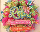 Only 2 left!!! Summer wreath, Flip flop wreath, Flipflop wreath, Beach wreath, Spring wreath, Ocean wreath,