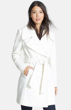 T Tahari Belted Notch Collar Wool Blend Coat