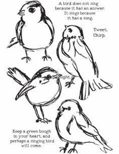 Dina Wakley stamp; Scribbly Birds | Scrapdelight Scrapbookwinkel