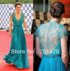 Free shipping Elegant Strapless Princess Kate Evening Dresses Beads Lace Fashion Custom-made Prom Dresses SWF076