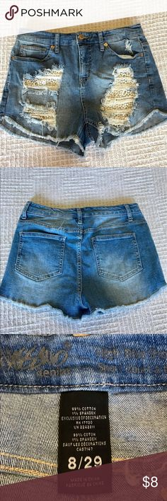 """Mossimo Shorts Distressed, crocheted and denim shorts by Mossimo.  2"""" inseam.  Really cute on! Mossimo Supply Co. Shorts"""