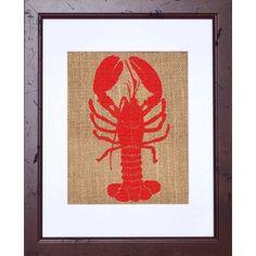 Nantucket Brand Wood Framed Burlap Lobster Print #nautical #lobster #sign