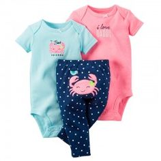 39547bca1631c Carter s Baby Girls Crab Bodysuit and Pants Set Months). set Nickel-free  snaps on reinforced panel Expandable shoulders Covered elastic waistband  Appliqué ...