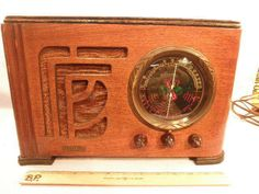 Beautiful, Unbooked General Model 137 AM/SW Deco Wooden Tube Radio 1930s NR
