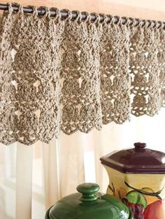 Feather-Stitch Valance A lacy, old-fashioned stitch pattern adds contemporary style with a touch of vintage charm to this very pretty window topper that's versatile enough for any room. This e-pattern was originally published in Easy-Living Crochet.
