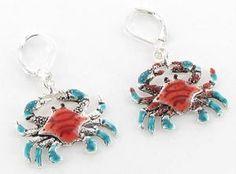 Enamel Epoxy Crab Claws Ocean Nautical Whimsical Silver Earrings $15.00