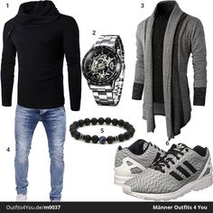 Schickes Männer-Outfit mit schwarzem Pullover, grau-schwarzem Cardigan, Alienwork Uhr, Merish Jeans, Chakra Band und Adidas ZX Flux. Jetzt ansehen!