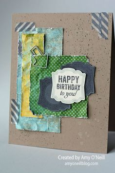 Stamps: Label Love (available May 31) Ink: Pool Party, Basic Gray Paper: Crumb Cake, Basic Gray, Very Vanilla, Epic Day dsp Embellishments: Epic Day washi tape, Hung Up Cute Clips, Artisan Label punch (available May 31), Color Spritzer Tool