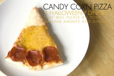 """Candy Corn Pizza.  From the blogger pinned:  """"Shape your favorite pizza crust into a circle.  Add sauce.  Place mozzarella cheese in the center, cheddar (or your favorite yellow cheese) around the mozzarella.  Add pepperoni, ham, or tomatoes to the edge of pizza crust.  Cook, then cut.  Voilà! The slices look like candy corn."""""""