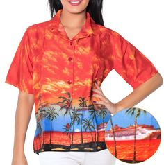 Cloudy Hawaii Button Down Regular Fit Blouse Aloha Women's Tank TOP Shirt Orange *** Quickly view this special  product, click the image : white dress
