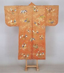 Noh costume (nuihaku) with floral roundels and scattered clusters of autumn flowers and bamboo grass , do period (19th century)   Silk satin with stenciled gold leaf and embroidery