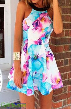 Amazing Floral Printed Sexy Style Sleeveless Casual Dress - GiftMo